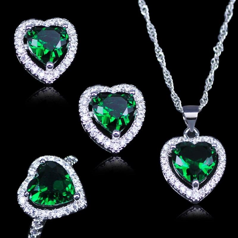 L & B Russische Herz Grün Erstellt Smaragd Weiß Zirkon 925 Stempel Silber Farbe Schmuck Sets Anhänger ohrringe Ringe Halskette