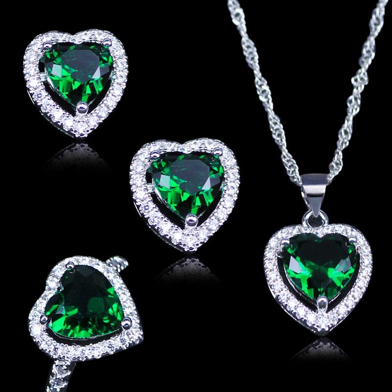 Hilfreich L & B Russische Herz Grün Erstellt Smaragd Weiß Zirkon 925 Stempel Silber Farbe Schmuck Sets Anhänger Ohrringe Ringe Halskette Hochzeits- & Verlobungs-schmuck