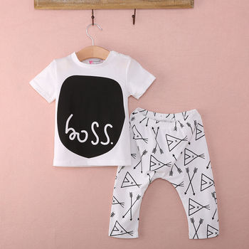 2 PCS 2015 Cotton baby boys girls clothes short sleeve tops pants newborn outfits set 0~24