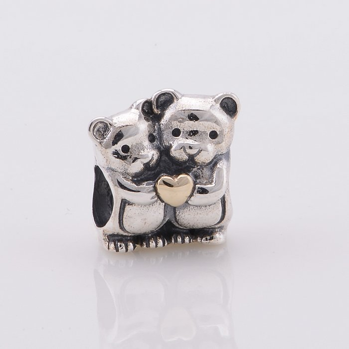 Fits for Pandora Bracelets Teddy Bear Silver Charm Heart Original Authentic 925 Sterling Silver Beads Free Shipping