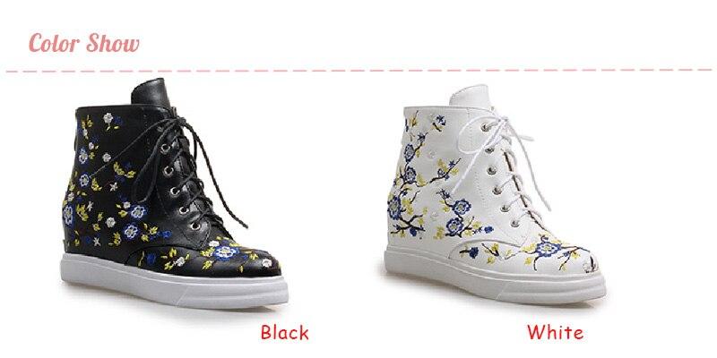 Compre Nasipal Cremallera Botas Mujer Mujer Estampado De Flores Botas De Moto Zapatos De Plataforma Plana Mujer Con Cordones De Cuña Oculta Botines
