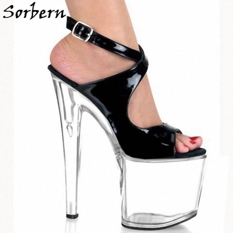 916fe44a3dcefa Sorbern D'été Cheville Femmes Sandales Chaussures Heels Transparent Talons  En forme Pour Taille Plate Personnalisé ...