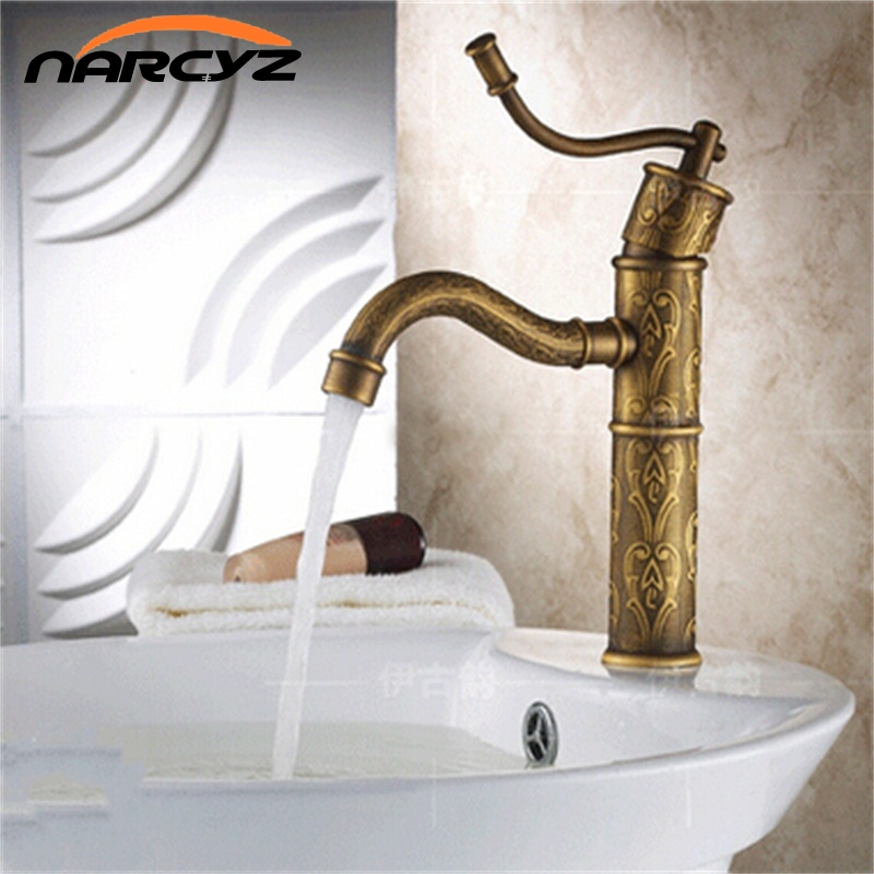 New Design Luxury Bathroom Basin Faucets Antique Brass Finished Hot and Cold Mixer Taps Deck Mounted