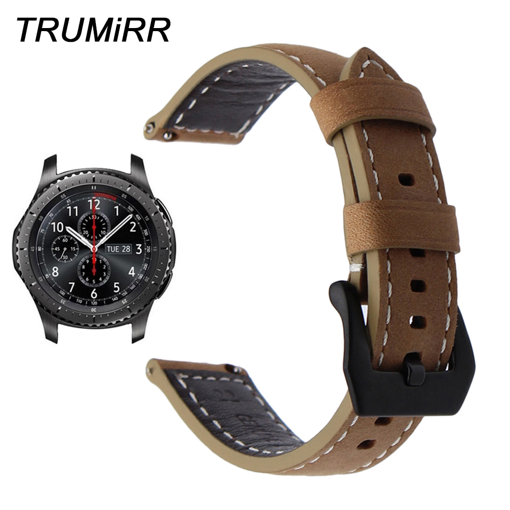 22mm Italy Genuine Leather Watchband Quick Release Strap for Samsung Gear S3 Galaxy Watch 46mm Steel Buckle Band Wrist Bracelet 機械 式 腕時計 スケルトン