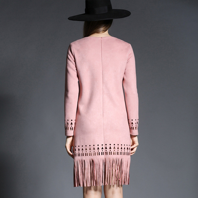 spring new long-sleeved A-Line dress deerskin women's Korean tassel fashion temperament long paragraph dress