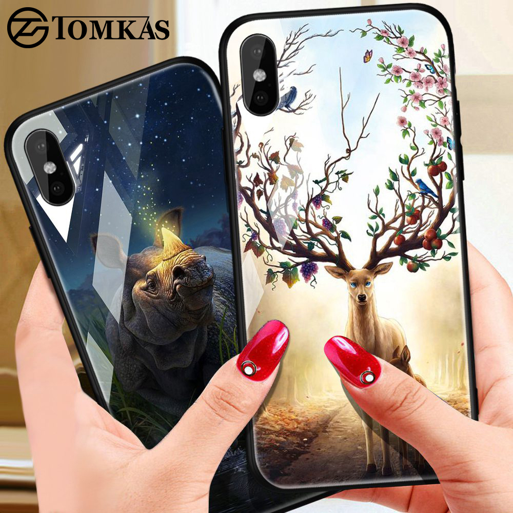 TOMKAS Phone Case For iPhone X XR 8 7 10 6 6s XS Max Glass Animal Cover Case For iPhone 7 8 X 6 6 S Plus XR Luxury Case Coque чехлы марвел