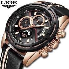 LIGE Mens Watches Top Brand Luxury Chronograph Business Quartz Watch Men leather Waterproof Sports Watches Relogio Masculino