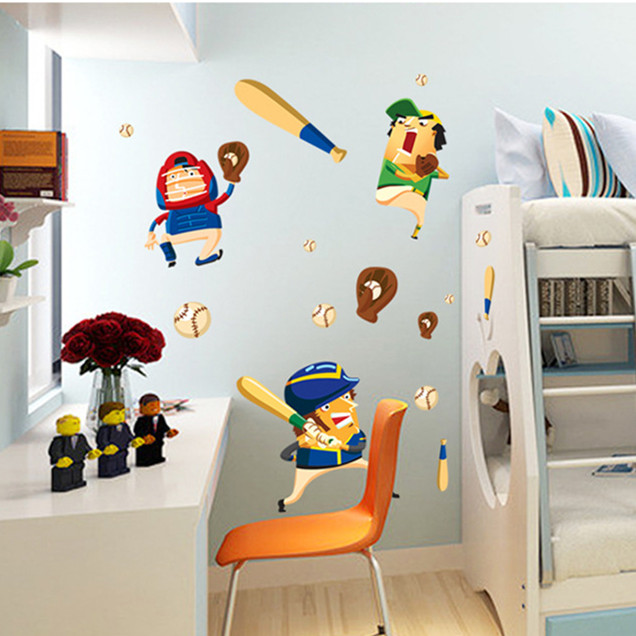 Latest Cartoon Sport Baseball Wall Sticker Home Decor For Boys Room DIY Decal On Children