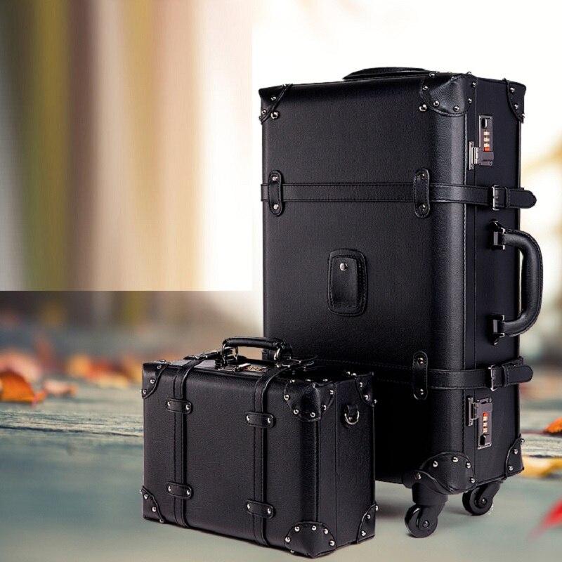 Rétro Design haute qualité 20/24 pouces fort et robuste valise d'embarquement Trolley voyage étanche roulement bagages Spinner boîte