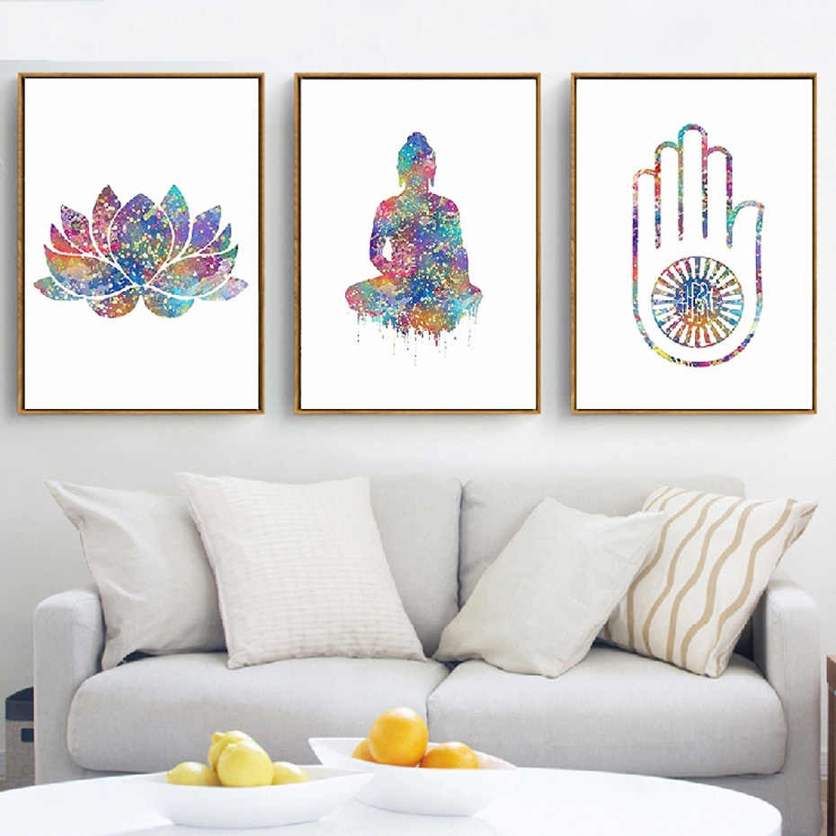 Watercolor Buddha Art Spiritual Free Spirit Yoga Spa Hand Canvas Paintings Wall Art Pictures Poster Print Living Room Home Decor