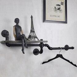 1 قطعة رف جدار الأنابيب الصناعية الزخرفية جدار معلق المعادن و رف خشبي خزانة مثالية للحمام/المطبخ/غرفة المعيشة Z6