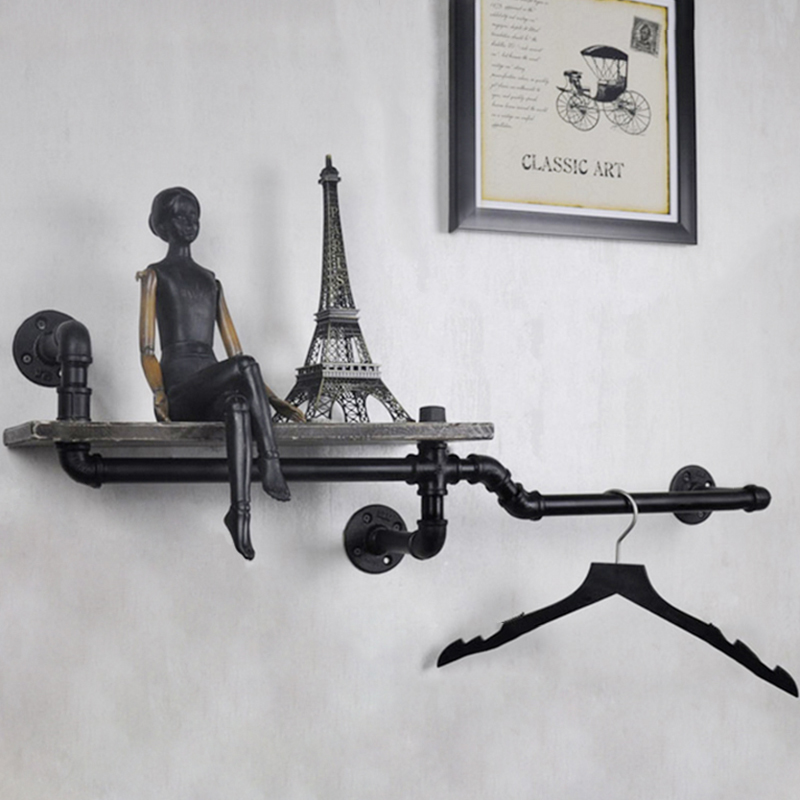 1PC Industrial Pipe <font><b>Wall</b></font> Shelf Decorative <font><b>Wall</b></font> Hanging Metal & Wood Shelf Bookcase Perfect for Bathroom/Kitchen/ Living Room Z6