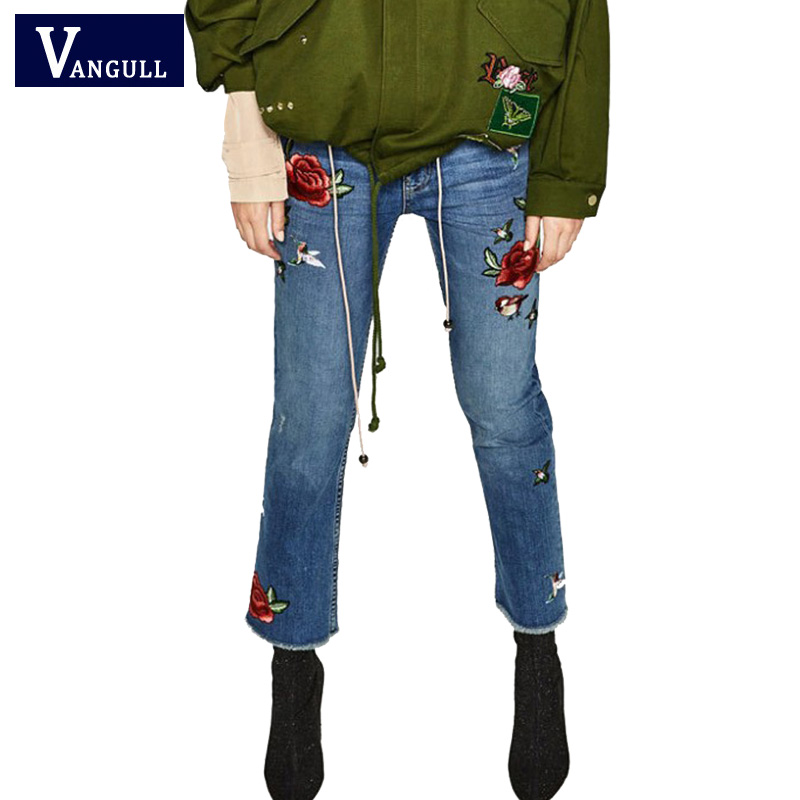 2016 Spring autumn Pockets straight jeans Women Flower embroidery jeans female blue casual pants capris woman bottom Pants flower embroidery jeans female light blue casual pants capris 2017 spring autumn pockets straight jeans women bottom