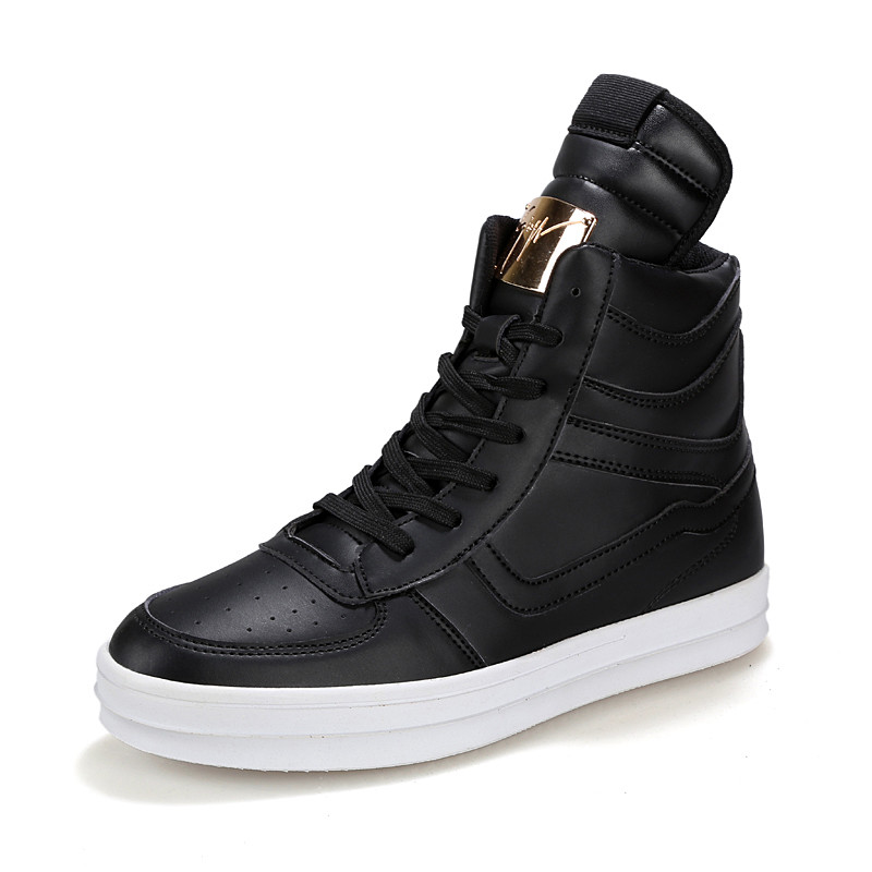 2019 Black White Men Fashion PU Leather Boots Big Size 39 45 Hot Style Ankle High Boys Platform Shoes