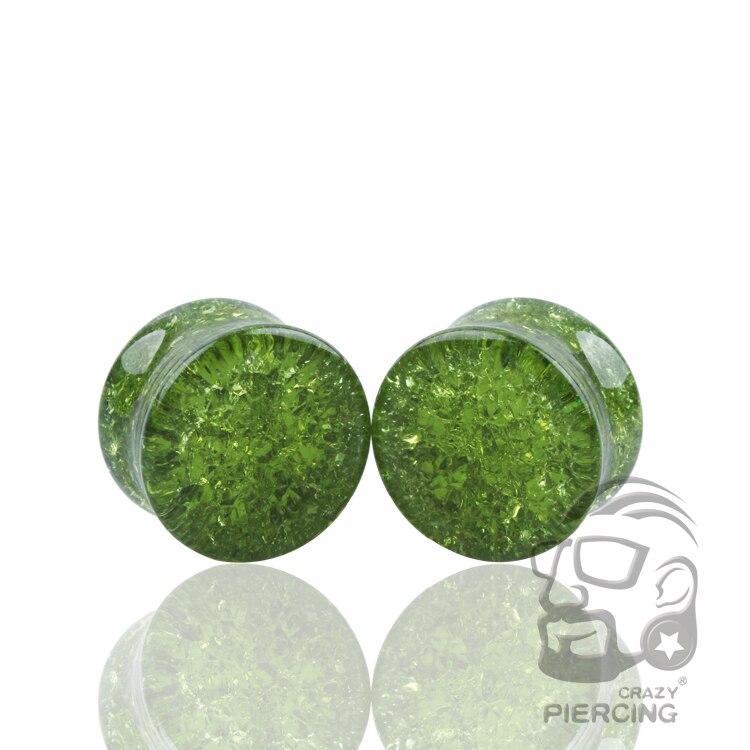 1 paire de Quartz brisé vert foncé Double verre évasé bouchon doreille jauge Tunnel Piercing bijoux