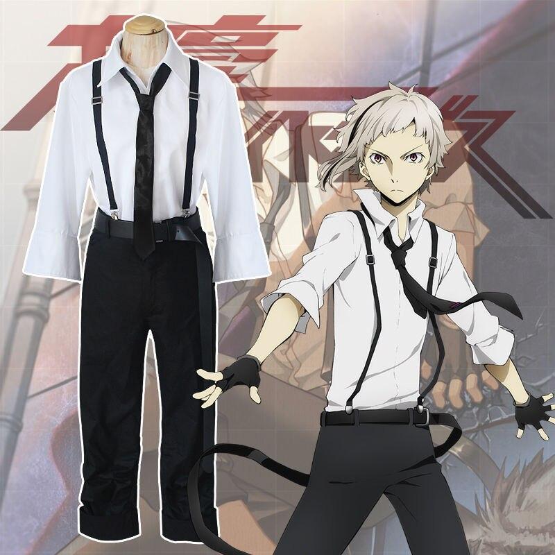Anime Bungo Stray Dogs Costume Atsushi Nakajima Cosplay Costumes School Uniform Man's Suit Set Shirts Pants Tie Gloves