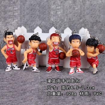 5 unids/lote Anime Slamdunk figura de llavero juguetes Slam Dunk Super Slams lindo llavero de PVC colgantes modelo muñeca juguete para regalos