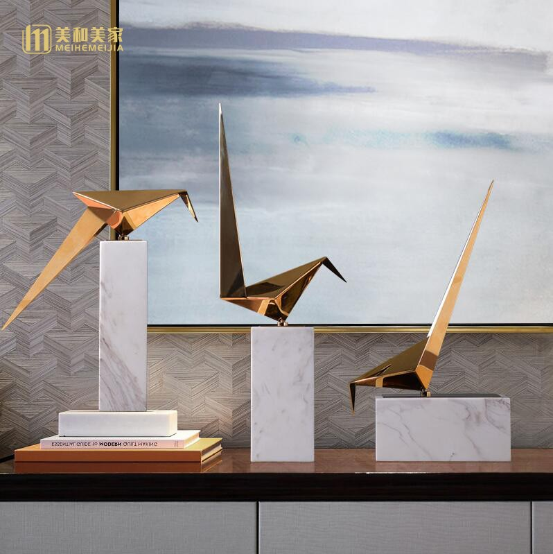 Creative marble Metal geometric bird statue vintage home decor crafts room decoration objects study office birds figurines gifts