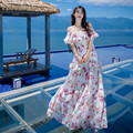 2017 nueva llegada del verano mujeres de bohemia beach dress ruffles short gasa manga dress palabra de longitud ultra larga cuello slash dress