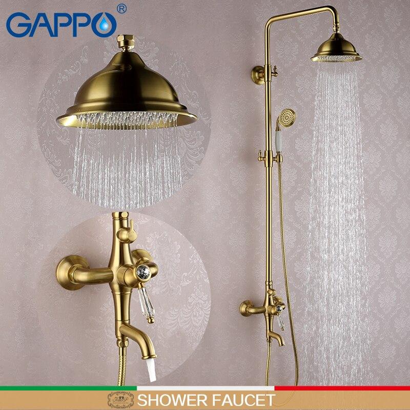 GAPPO bronze shower faucet antique shower mixer tap waterfall bath tap mixer bath shower head wall mount rainfall shower set