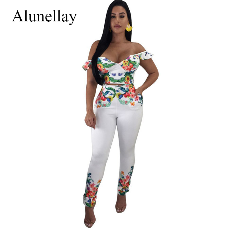 Alunellay 2018 Printed Bodycon Rompers Womens Jumpsuit Sexy Deep V-Neck Short Sleeve Jumpsuit Summer Casual Off Shoulder Overall