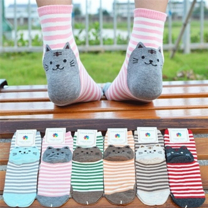 1Pair Women Cat Footprints Cotton Socks 3D Animals Striped Cartoon Socks Floor Harajuku Lovely Art Socks Animal Socks