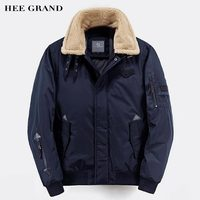 HEE GRAND Men Stylish Parkas 2017 New Solid Color Pockets Decoration Lambswool Collar Autumn Winter Coat Size M XXL MWM1659