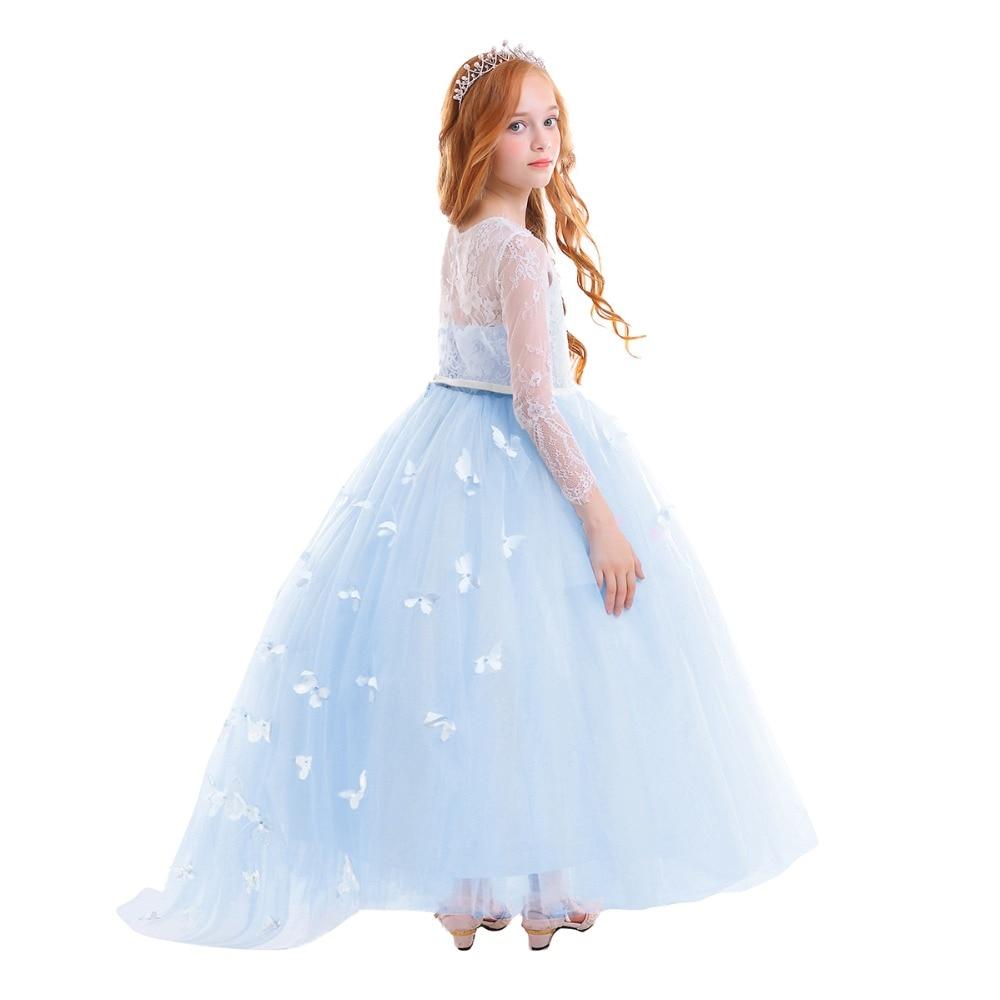 2019 Vintage Flower Girls Wedding Bridesmaid Dress for Kids Butterfly Tulle  Lace Long Dress Elegant Princess Party Girls Dress - aliexpress.com -  imall.com d918b52816be
