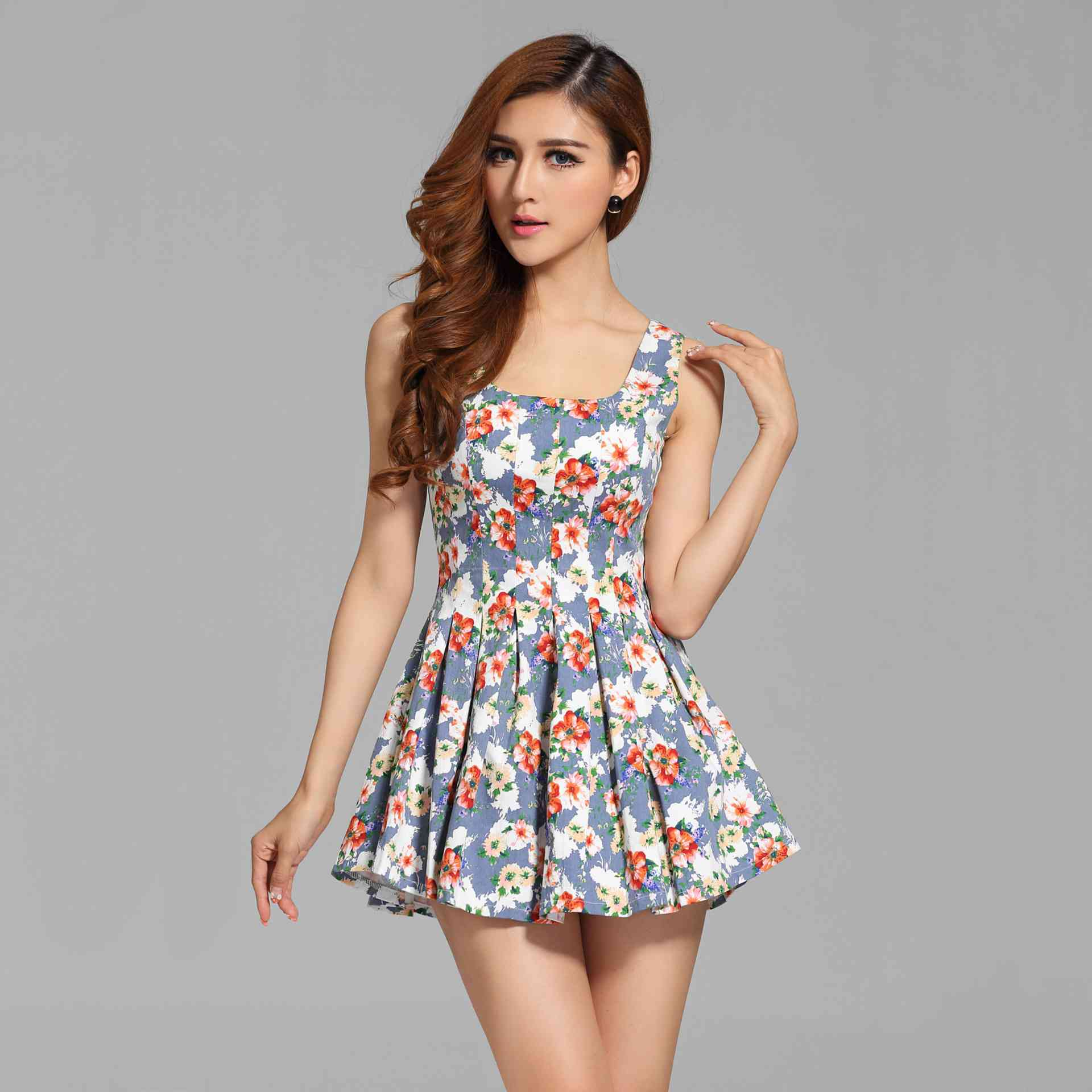 551271039a3 Free Shipping new style womens Western dresses sundresses for summer  sleeveless overalls elastic pleated of self 1432334056-in Dresses from Women s  Clothing ...