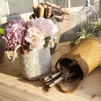 Storage Basket Natural Straw flower basket Kaleidoscope flower vase decoration American country Desktop craft MW90909