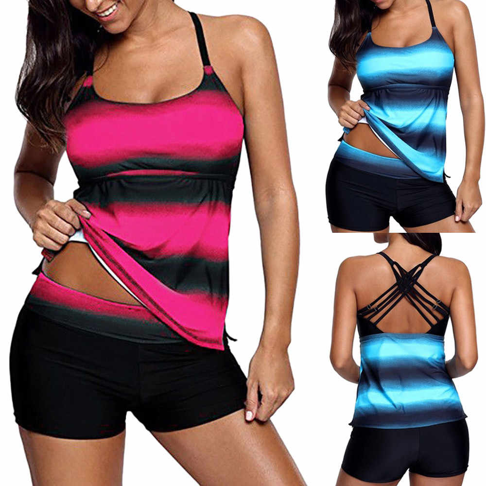 Swimsuit Woman 2018 Women Plus Size Gradient Tankini Bikini Swimwear Swimsuit Bathing Suit Swimwear Beachwear swimming suit 15
