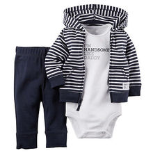 2016 Autunm Winter Newborn Baby Kids Boys Outfits Clothes Coat+Romper+Pants 3pcs Set Suit