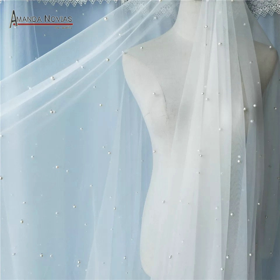 300cm Long Pearls Veil Only Ivory Color luxury full pearls bridal veil 1 5m width no