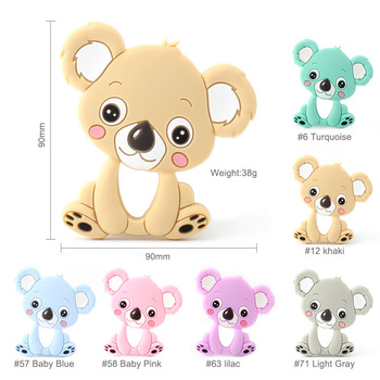 30Pcs 90mm BPA Free Koala Baby Teethers Food Grade Silicone Teethers Baby Teething Toys DIY Pacifier Chain Pendant 6 Colors