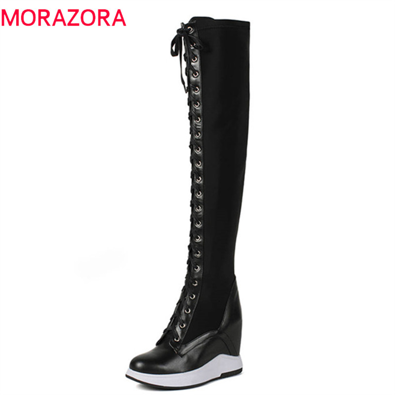 MORAZORA 2018 new fashion over the knee boots women genuine leather lace up +zipper warm autumn winter boots wedges shoes woman