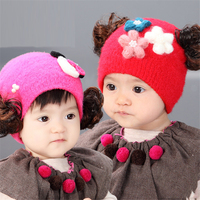 Cute Baby Girl Wig Hat For Kids Winter Baby Caps Toddler Beanie Warm Winter Organic Cotton