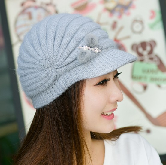 Winter hat female women's autumn and winter fashion thermal knitted hat rabbit fur hat knitted hat winter