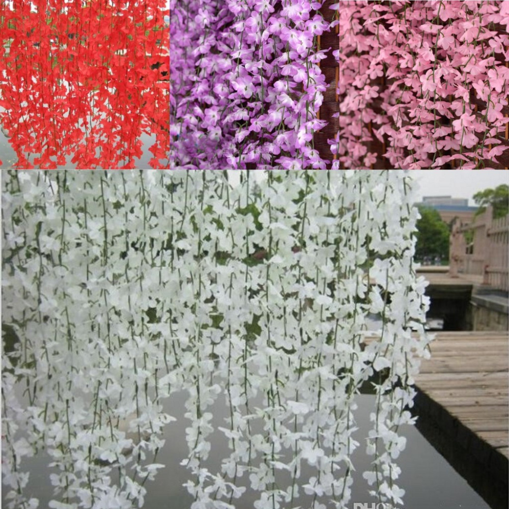 Popular silk cherry blossom buy cheap silk cherry blossom lots 5 branchspcs wisteria rattan artificial silk cherry blossom wall hanging flower vine for garden dhlflorist Image collections