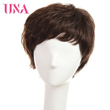 UNA Short Human Hair Wigs For Women Non-Remy Natural Wavy Human Hair Indian Human Hair Wigs Non-Remy Machine Hair Wigs 6""