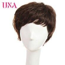 """UNA courtes perruques de cheveux humains pour les femmes Remy naturel ondulé cheveux humains indien perruques de cheveux humains Machine perruques de cheveux 6"""""""