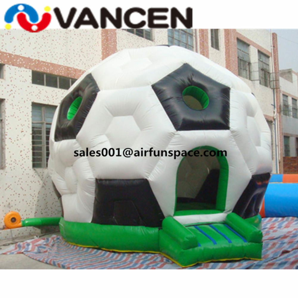 0.55mm PVC inflatable football bouncer house dome design inflatable jumping castle with free air blower