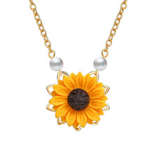 Imitation Pearl Sun Flower Necklace Pendant For Women Jewelry Accessories Sunflower Choker Necklaces Wedding Jewelry retro velvet sunflower choker necklace