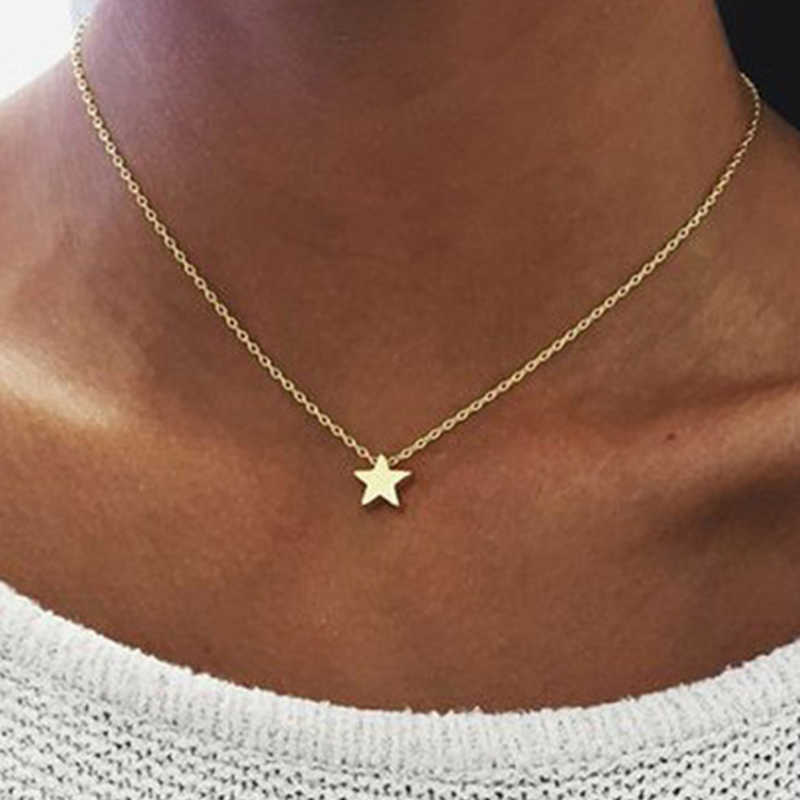 Women Charm Chocker Gold Silver Color Chain Star Moon Pendant Choker Necklace Jewelry Collana Kolye Bijoux Collar Mujer Collier