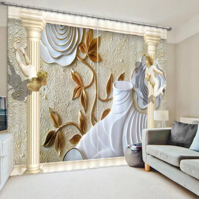 Noble Elegent Western Style 3D Blackout Curtains For Bedding room Living room Drapes CortinasTapestry Wall Decorative