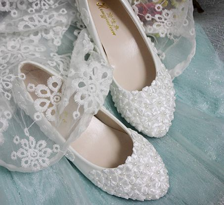 100% real photos handmade wedding shoes for women TG328 low/med/no heel bridal shoes white light ivory pearls bridesmaid shoes