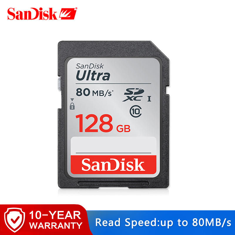 SanDisk Ultra 32GB 16GB 64GB Class 10 SD SDHC SDXC Memory Card In SD Card 128GB 80MB/s For Camera Support Official Verification