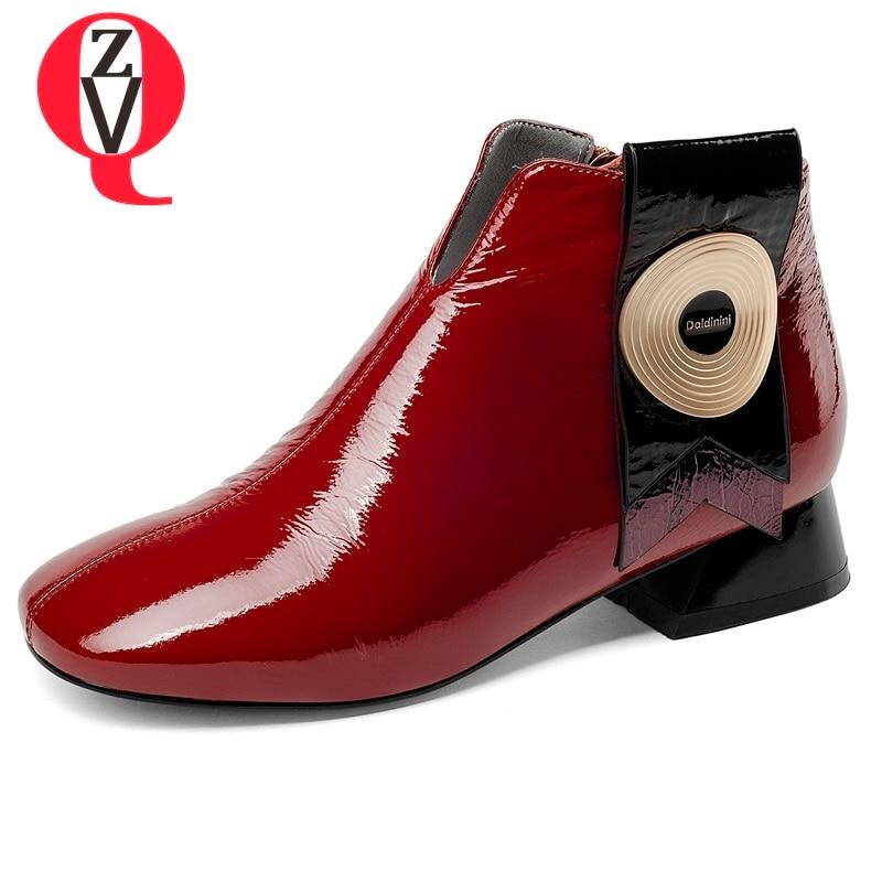 Cuir Talon Mode Bout Verni Femmes 2018 Chaussures Hauteur Cm Noir Éclair Du Et Rouge Faible Zvq En Bottines Carré 3 red Nouvelle Fermeture Black nwP80OXk