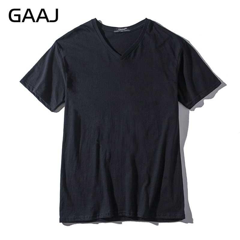 2019 GAAJ 100 코튼 플레인 T 셔츠 남성 V 넥 T 셔츠 남성 반팔 브랜드 TShirt 여름 빈 탑 티 솔리드 네이비 화이트 그레이