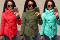 Casual Women Winter Parkas Jacket Thick Long Sleeve Cotton-padded Jacket Irregular with Belt Winter Jacket Warm Woman Coats