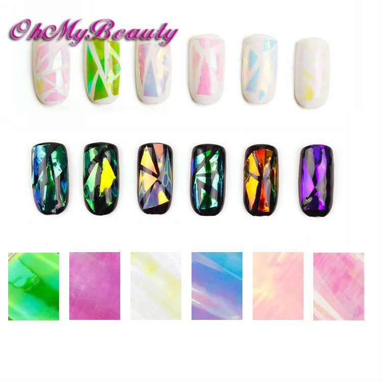 Blingbling 6 pack broken glass nail sticker mirror effect foil punk galaxy holographic transfer sticker decal for nail art in stickers decals from beauty